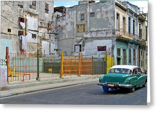 Greeting Card featuring the photograph Cuba Vintage American Car  by Lynn Bolt