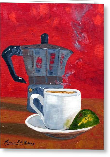 Cuban Coffee And Lime Red 62012 Greeting Card by Maria Soto Robbins