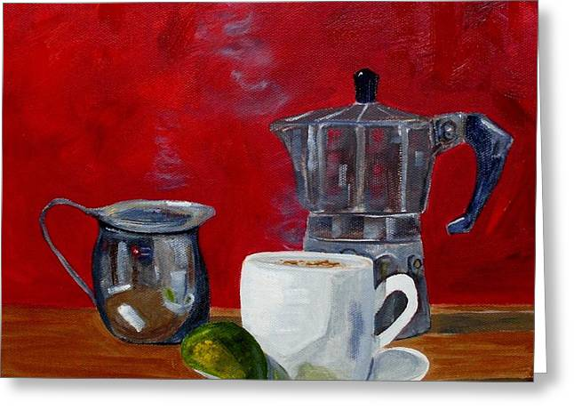 Cuban Coffee Lime And Creamer 2 Greeting Card by Maria Soto Robbins