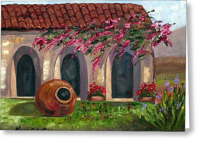Cuban Courtyard With Tinajon And Bougainvillea Greeting Card by Maria Soto Robbins