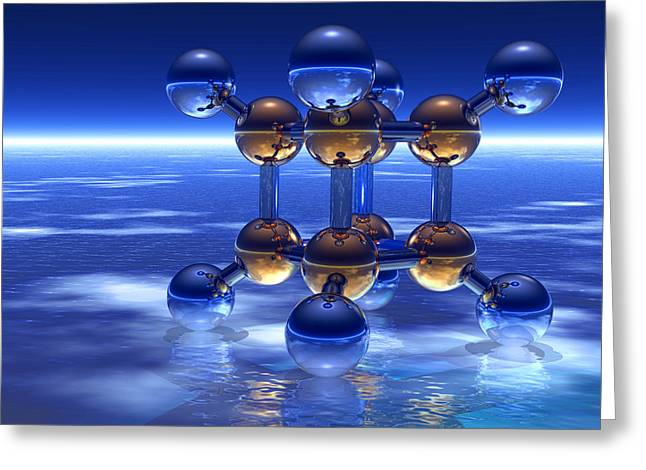 Cubane Molecule Greeting Card by Laguna Design