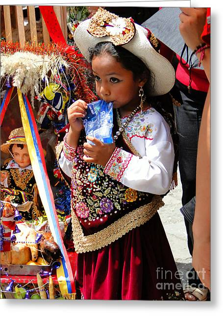 Cuenca Kids 97 Greeting Card by Al Bourassa