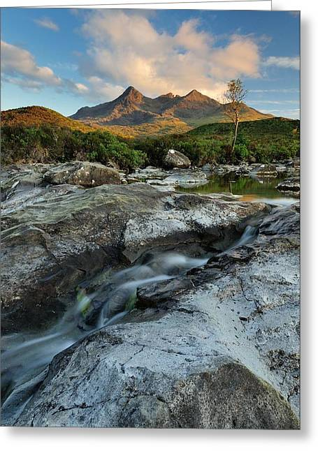 Cuillin Evening Sunlight Greeting Card by Stewart Smith
