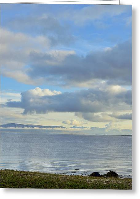 Cumulus Clouds Sea And Mountains Reykjavik Iceland Greeting Card by Marianne Campolongo
