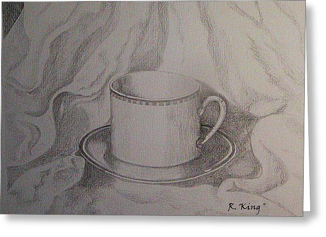 Greeting Card featuring the drawing Cup And Saucer On Material by Roena King