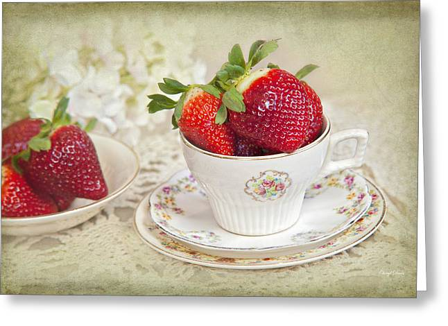 Cup Of Strawberries Greeting Card by Cheryl Davis