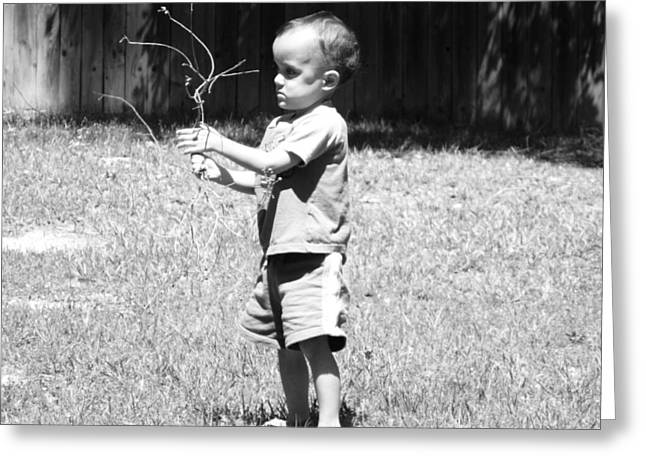 Greeting Card featuring the photograph Curious Boy by Ester  Rogers