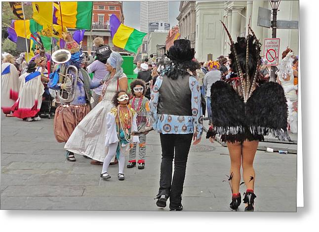 Curious Children On Mardi Gras In New Orleans Greeting Card