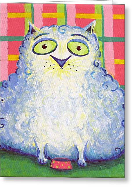 Curly Cat Greeting Card by Jennifer Alvarez