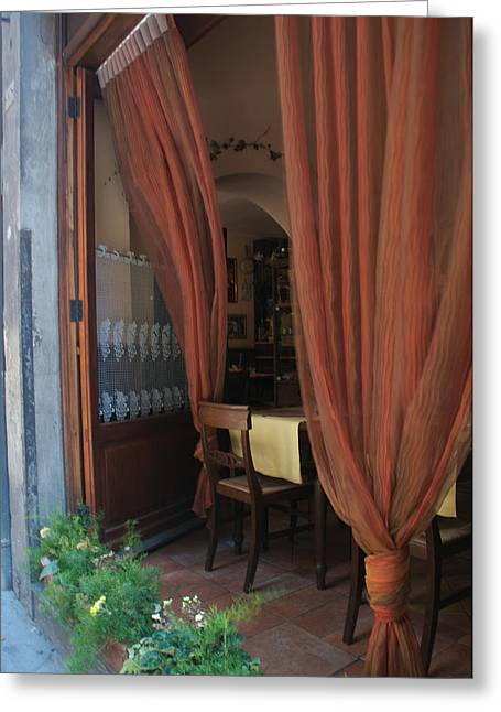 Curtains Billow In The Gentle Tuscan Greeting Card