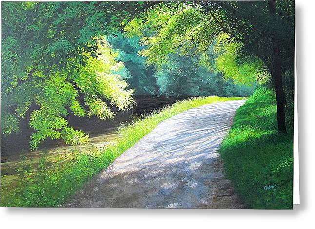 Curve Canal And Sunlight Greeting Card by David Bottini