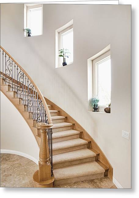 Residential Structure Greeting Cards - Curved Staircase In Home Greeting Card by Bryan Mullennix
