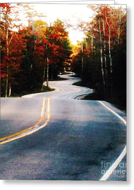 Curvy Road In The Fall Greeting Card