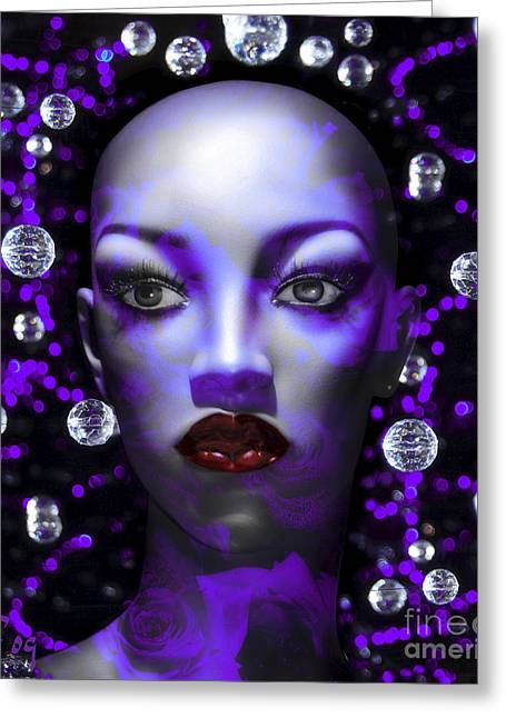 Cushioned Lips Moon Lady Greeting Card by Rosa Cobos