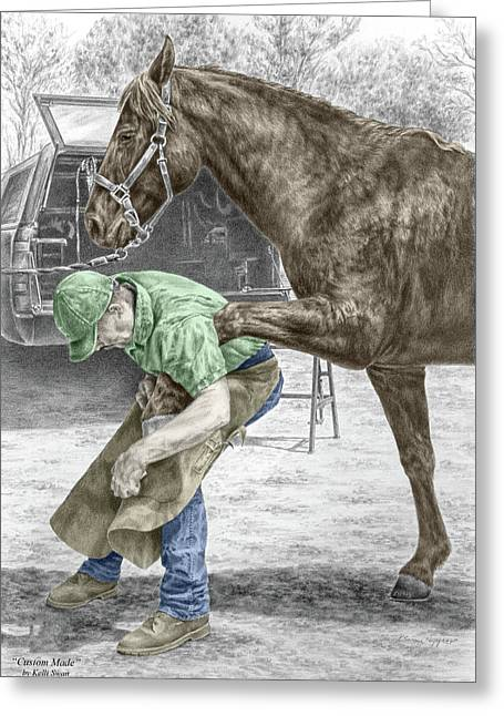Custom Made - Farrier And Horse Print Color Tinted Greeting Card by Kelli Swan