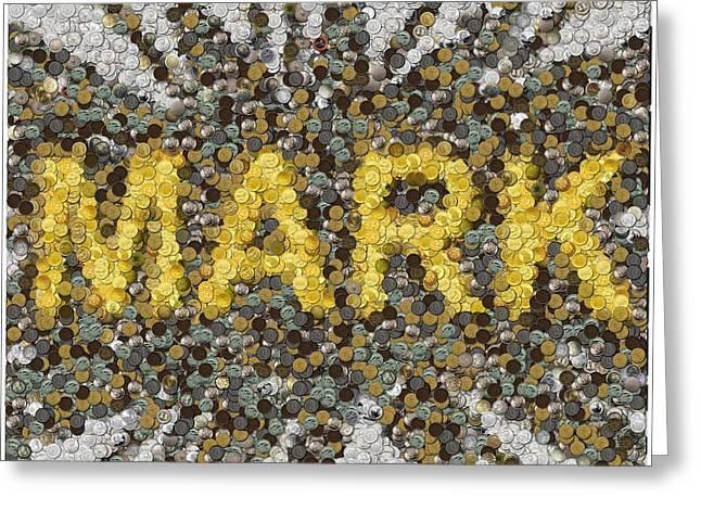 Custom Mark Mosaic Coins Greeting Card by Paul Van Scott