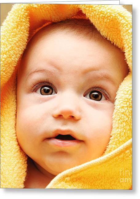 Cute Baby Face Greeting Card by Anna Om