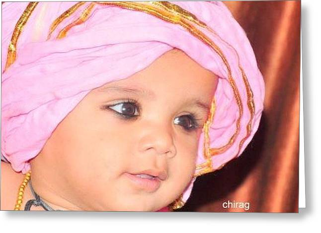 Cute Baby Photo Greeting Card by Chirag Arts