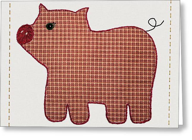 Cute Country Style Pink Plaid Pig Greeting Card by Tracie Kaska