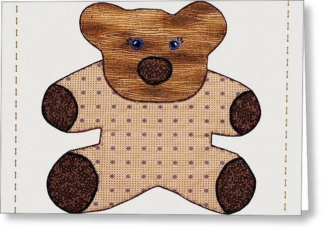 Cute Country Style Teddy Bear Greeting Card by Tracie Kaska