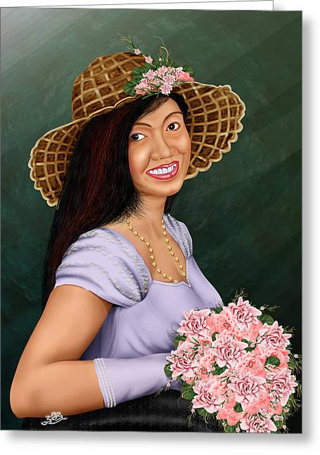 Cute Flower Girl Greeting Card by Dumindu Shanaka