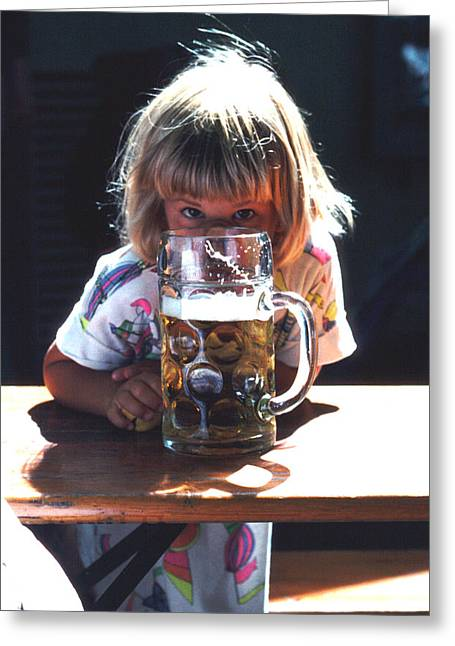 Greeting Card featuring the photograph Cute Little Girl At Beer Garden Munich by Tom Wurl