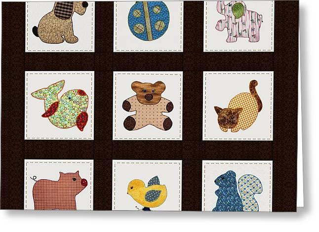 Cute Nursery Animals Baby Quilt Greeting Card by Tracie Kaska