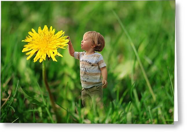Cute Tiny Boy Playing In The Grass Greeting Card by Jaroslaw Grudzinski
