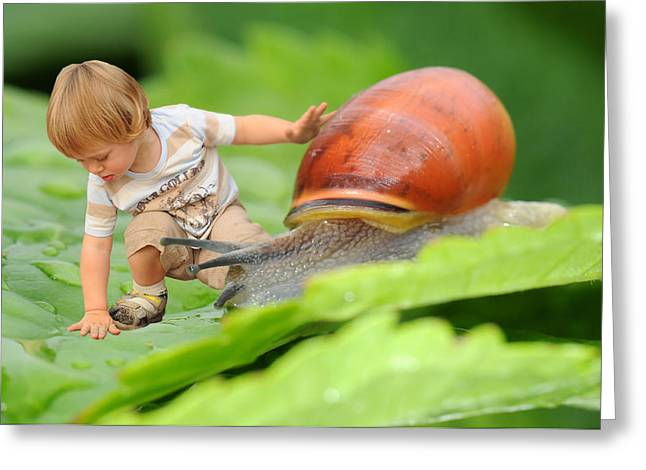 Cute Tiny Boy Playing With A Snail Greeting Card by Jaroslaw Grudzinski