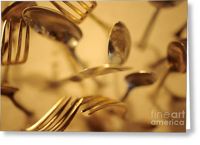 Cutlery Vortex Greeting Card by Bruce Stanfield