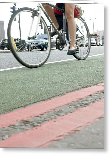 Cyclist In A Cycle Lane Greeting Card by Tony Mcconnell