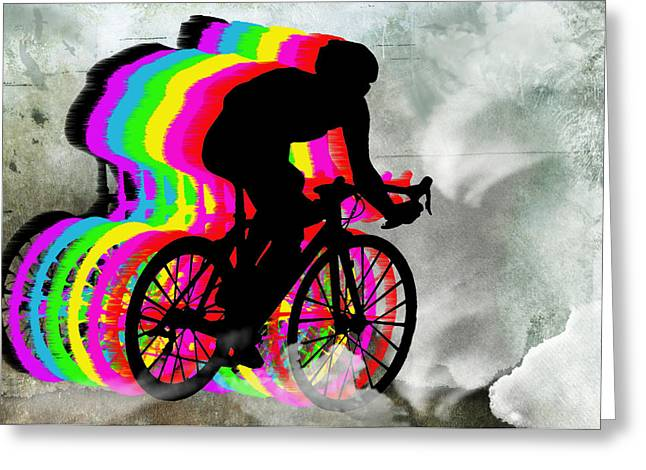 Cyclists Cycling In The Clouds Greeting Card by Elaine Plesser