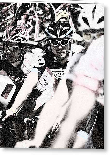 Cycllist In The Peleton Greeting Card