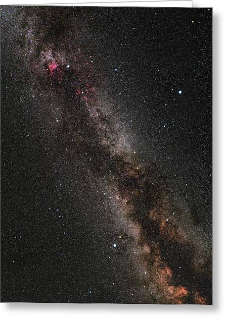Cygnus, Lyra And The Great Rift Greeting Card by Eckhard Slawik