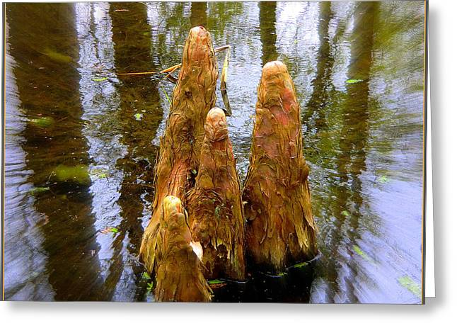 Cypress Family Of Monks Greeting Card by Mindy Newman