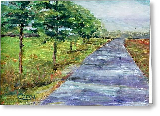 Greeting Card featuring the painting Cypress Lane by Carol Berning