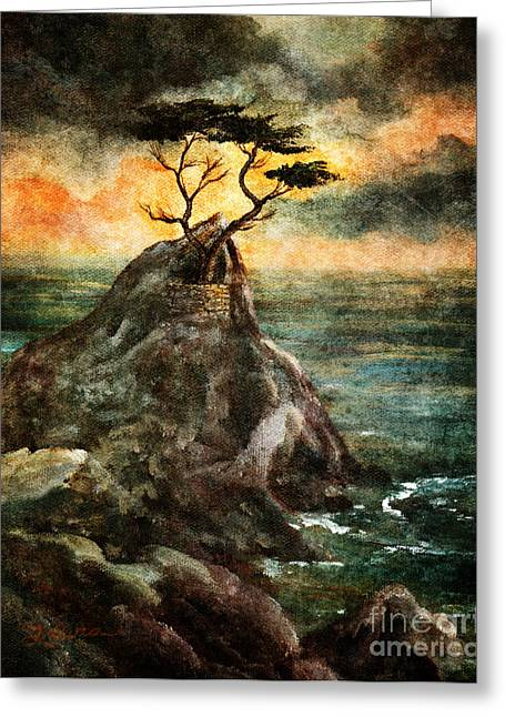 Cypress Tree In Storm Greeting Card by Laura Iverson