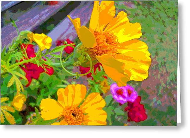 Cypress Vine And Flowers By Porch Steps Greeting Card by Padre Art