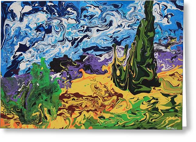Cypress With Wheat Field After Van Gogh Greeting Card by Art Enrico