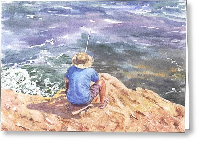 Cyprus Fisherman Greeting Card by Maureen Carter
