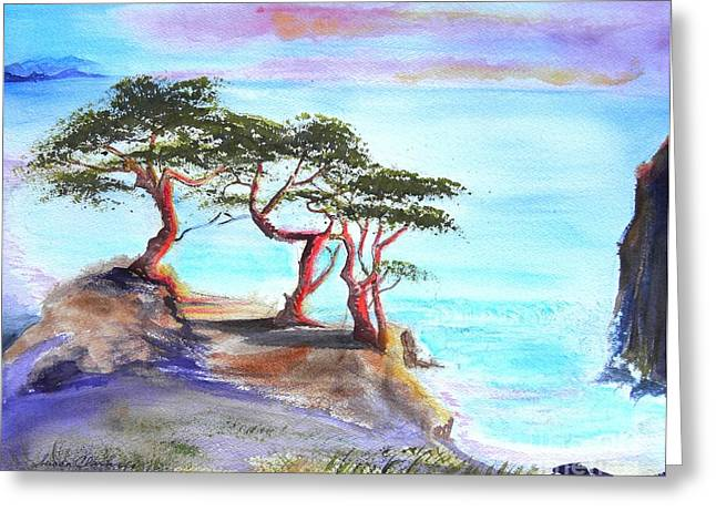 Cyprus Trees On California Coast Greeting Card by Susan  Clark