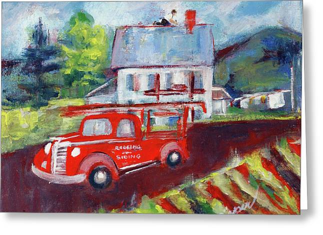 Dad At Work Roofing Greeting Card by Elzbieta Zemaitis