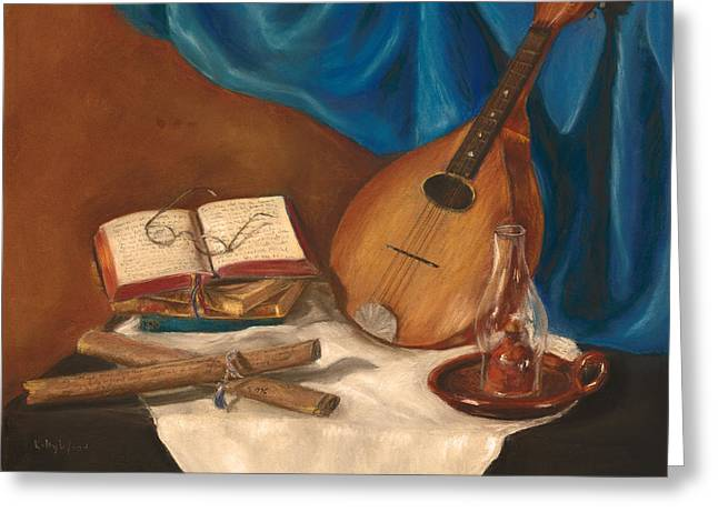 Scroll Pastels Greeting Cards - Dads Mandolin Greeting Card by Kathy Wood