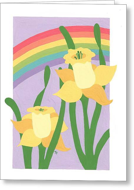 Daffodils And Rainbows II Greeting Card by Terry Taylor