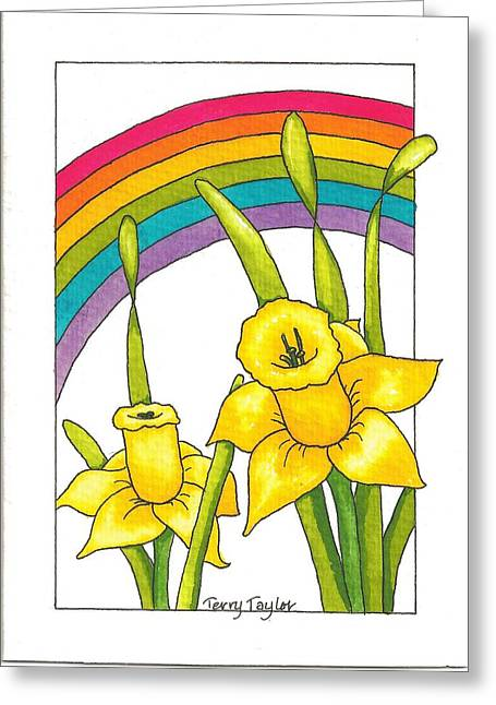 Greeting Card featuring the painting Daffodils And Rainbows by Terry Taylor