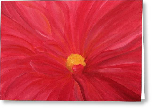 Greeting Card featuring the painting Dahlia Macro by Janet Greer Sammons