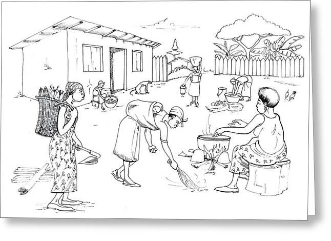 Daily Life In South And Center Cameroon 10 Greeting Card by Emmanuel Baliyanga