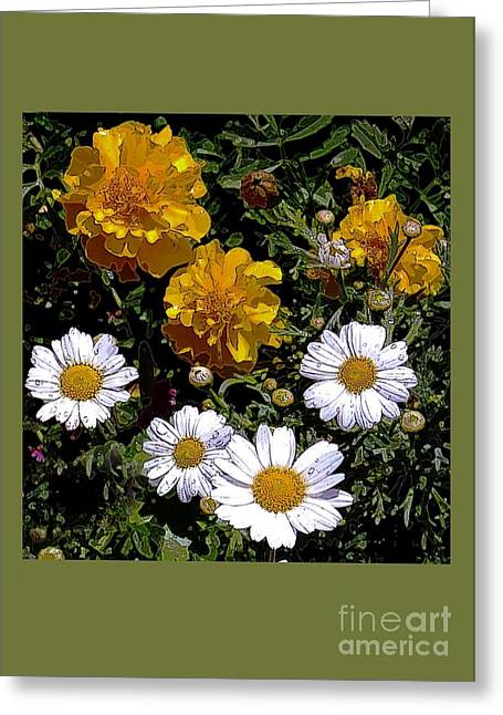 Daisies And Marigolds Greeting Card by Dale   Ford