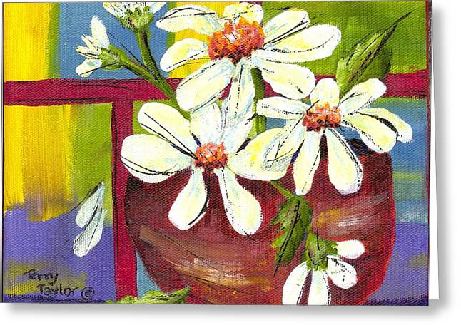 Greeting Card featuring the painting Daisies In A Red Bowl by Terry Taylor