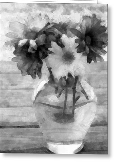 Daisy Crazy Bw Revisited Greeting Card